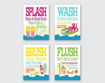 "Childrens Kids Girls Bathroom Art Prints Set of (4) 5"" x 7"" Surf Board Theme // Fine Art Home Decor"