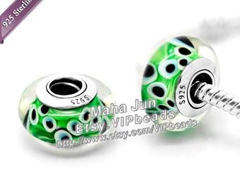Top High Quality  925 Silver Screw Core Murano Glass Beads  Lampwork European Charm Bead Fits European Charm Bracelets/ ZS088