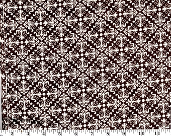35 inches, White Filigree Tiles on Brown