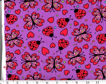 1 Yard, Lady Bugs and Butterflies on Purple