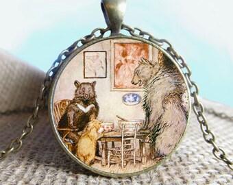The Three Bears, English Fairy Tale, Arthur Rackham Pendant/Necklace Jewelry, Necklace Jewelry, Photo Jewelry Glass Pendant Gift