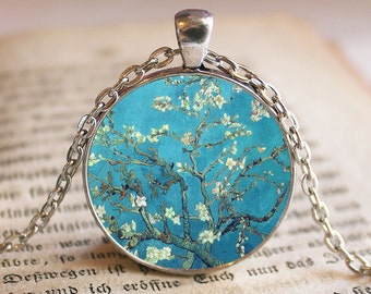 Van Gogh's Almond Blossom Pendant/Necklace Jewelry, Almond Blossom Necklace Jewelry, Van Gogh Photo Jewelry Pendant Gift, Blue, Turquoise