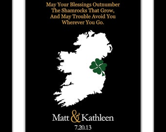 Irish wedding gift, irish blessing quote custom ireland wedding map travel map gift for couple gift for bride unique wedding guest book idea