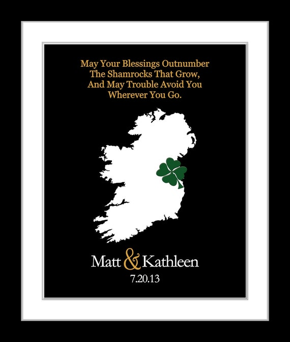 Unique Wedding Gifts Ireland : Irish Wedding Gift: Irish Blessing Ideas Quote on Personalized State ...