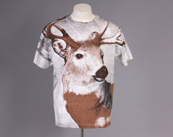 90s DEER Allover Print T-SHIRT / 1990s Front and Back View Large Deer Tee L