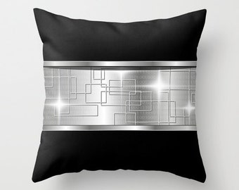 Black Pillow Silver Pillow Binary Pillow Technology pillow Throw pillow Cushion covers Pillow case Accent pillow Couch pillow Pattern Pillow
