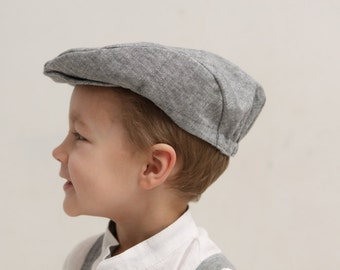 Boys flat hat Newsboy hat Infant boy linen flat hat Ring bearer hat Newsboy Cap Photo prop Toddler hat