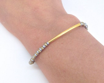 Gold Bar bracelet  - Two tone bracelet - Silver and Gold everyday bracelet - Gift for her