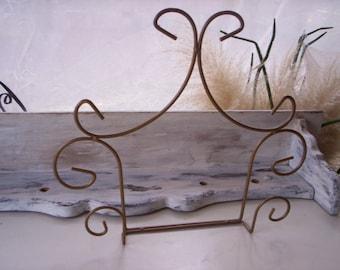Vintage plate rack/Plate holder/Plate rack/Dish display rack/Holiday display rack/Book holder/Metal book holder/Metal plate holder
