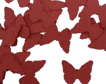 Brick Red Butterfly Shaped Plantable Seed Paper Confetti, Wildflower Seed, Recycled Paper  - 100 Pack