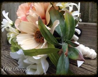 Silk flower wedding bouquet. Silk bouquet. Bridal bouquet. YOUR COLORS. ivory bouquet. Blush bouquet. Succulent. Rustic wedding. Country.