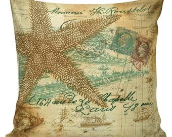 Nautical Pillow, Shell Pillow, Beach Pillow, French, Seashells, Seashell Decor, Throw Pillow Cover, #NA80, Elliott Heath Designs