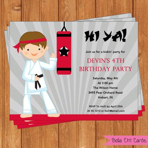 Karate Invitation Kids Birthday Printable By BellaChiCards