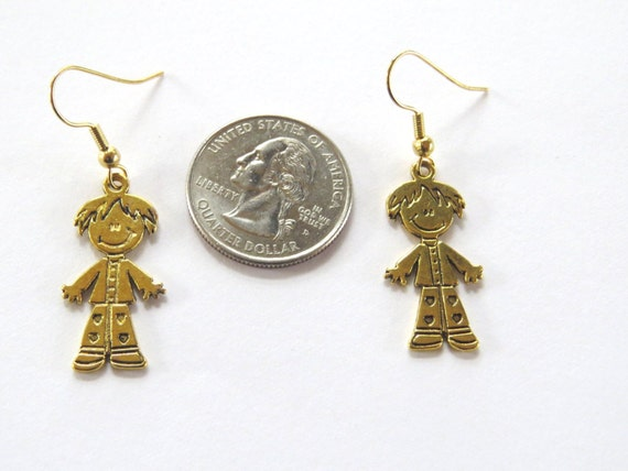 smiling boy earrings gold finish lead free by nammerscrafts