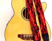 Flames Red Black Rock Guitar Strap