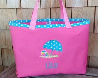 Kids Personalized Pink Canvas Tote with Beach Umbrella Design