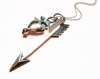 Arrow necklace- heart and arrow- love necklace- romantic jewelry- Valentine's gift for her- cupid necklace