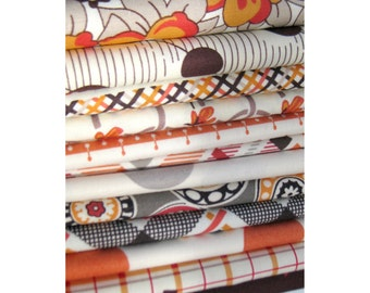 DS Orange and Brown Fat Quarter Fabric Bundle