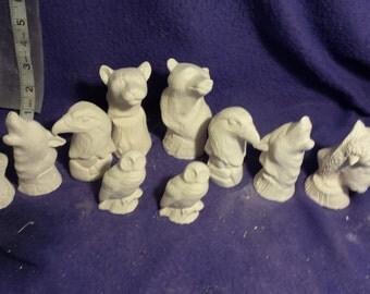 Ceramic North American Wildlife chess set 32 piece ready to paint