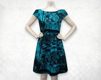 Alice in Wonderland Mad Tea Party cap sleeve screenprinted Cotton Dress- Blue