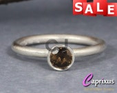 SALE 30% OFF - Natural Smoky Brown Quartz Stacking Ring Handcrafted Solid 925K Sterling Silver Gemstone Stackable Ring Birthstone Stack Ring