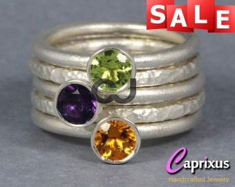SALE 30% OFF - Purple Amethyst, Green Peridot, Yellow Citrine Stacking Rings, Sterling Silver Gemstone Set of Five Stackable Rings, Stack
