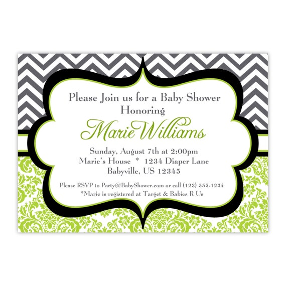 Chevron Invitation - Black, Gray, Grey Chevron, Lime Green Damask, Adorable Personalized Baby Shower Party Invite - a Digital Printable File