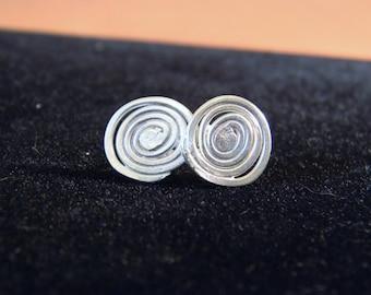 Swirl Stud Earrings, Silver Swirl Earrings, Silver Spiral Earrings, Spiral Studs, Spiral Earrings, Silver Swirl Earrings,