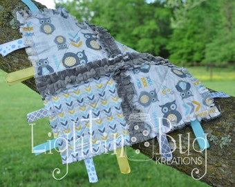 neutral owls Minky Tag Rag Blanket