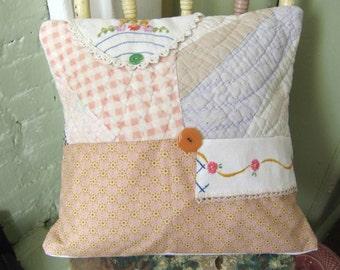 Pilllow cover,  Vintage Linen Quilt,  Re-purposed 14x14