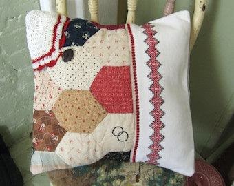 Pillow cover, Vintage Linen and Quilt  Re-purposed 14x14