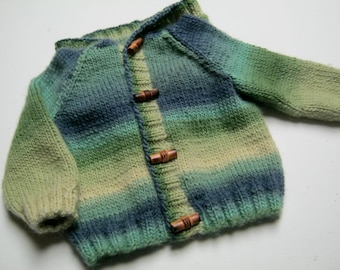 Hand-knitted Infant variegated green blue hoodie