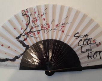 HAND FAN | Japanese style print | cherry blossom | folding fan | gift for her | summer accessory | black and white | free shipping worldwide