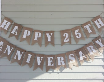 Happy 25th Anniversary banner. Burlap banner.