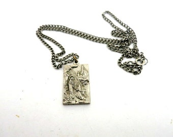 Guadalupe Religious Pendant Two Sided Silver Tone