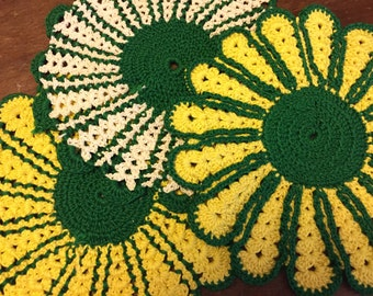 Vintage Handmade Yellow and Green Doilies- Set of 5