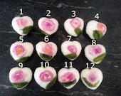 "Felted soap, felt rose, felt heart, 97% wool, 3 percent silk, appr. 1,97"", feltsoap, various colors"