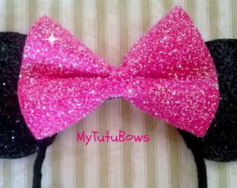 MINNIE MOUSE EARS Headband Black Ears with Big Hot Pink Bow Glitter Sparkle Sequin Fits Adults and Children