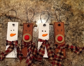 Set of 4 primitive wooden snowman and reindeer ornaments