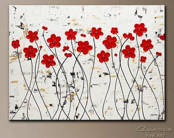 Red Flower Original Abstract Art by CGUEDEZ. Modern Textured Floral Art.Red,White,Black. Poppies Abstract Painting.Mis Amores. FREE SHIPPING