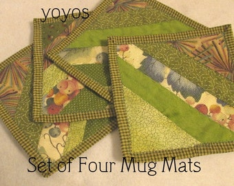 MUG MATS, GRAPES, Green, Strip Pieced,  Patchwork, Home Decor, Kitchen Décor,  Country Decor, Hostess Gift, Party Favor