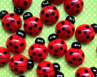 Lady bug cabochon- Flat back resin -Ladybug flatback resin * 10 pc set * Ladybug embellishment