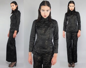 Vtg 60s Black Oriental Asian Mandarin Ethnic Pantsuit Suit Set Tunic Top Pants XXS XS