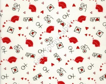 Lips & Love on White - I Love You Collection by Marie Cole from Henry Glass Fabrics 6292-89 (sold by the 1/2 yard)