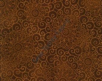 Flowers & Swirls Brown - Good Morning Sunshine Collection by Beth Logan - Henry Glass 9748-33 (sold by the 1/2 yard)