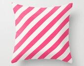 Diagonal Hot Pink Throw Pillow - Geometric Pillow - Modern Decor - Throw Pillow - Urban Decor - by Beverly LeFevre