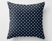 Navy Swiss Dots Throw Pillow - Geometric Pillow - Modern Decor - Throw Pillow - Urban Decor - by Beverly LeFevre
