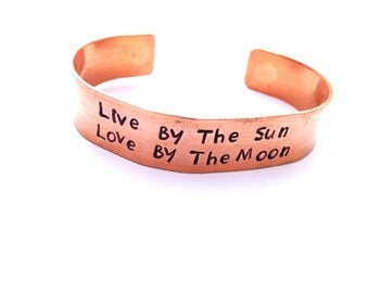 Live By the Sun Love By the Moon Personalized Jewelry - Hand Stamped Cuff - Copper Bracelet - Love You to the moon and back