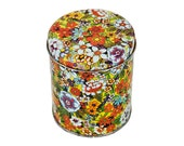 Vintage 70's Colorful Floral Pattern Tin Can