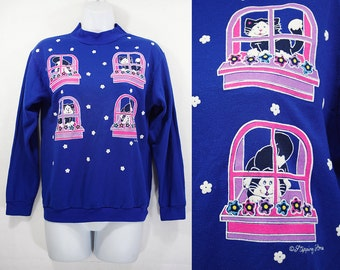 10 Dollar Sale---Vintage 80's STEPPING STONES Novelty Kitty Cats Prints Blue Sweatshirt Size Youth L or Women's S